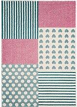 Teppich Kinderzimmer Junge Carpet modernes Design PLAY KIDS Auto RUG 100% Polypropylen 100x150 cm Rechteckig Blau | Teppiche günstig online kaufen