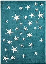 Teppich Kinderzimmer Junge Carpet modernes Design PLAY KIDS Sterne RUG 100% Polypropylen 100x150 cm Rechteckig Blau | Teppiche günstig online kaufen