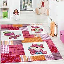 Teppich Kinderzimmer niedliche Füchse Kinderteppich Fuchs Mehrfarbig Pink Creme, Grösse:200x280 cm