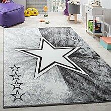 Teppich Kinderzimmer Stern Design Spielteppich Kinderteppich Kurzflor in Grau, Grösse:120x170 cm