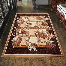 Teppich Klassisch Braun Beigge Kurzflor Laub Blumen Muster Günstig (100x150 cm)
