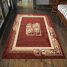 Teppich Klassisch Braun Kurzflor Blumen Muster