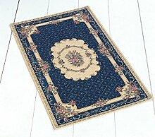 Teppich Klassisch Chenille Wohnzimmer Eingang 140x 195blau