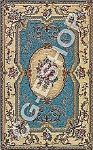 Teppich Klassisch Chenille Wohnzimmer Eingang Rosette 140x 195hellblau