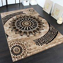 Teppich Klassisch Gemustert Kreis Ornamente in Braun Beige Schwarz Meliert, Grösse:80x300 cm