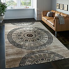 Teppich Klassisch Gemustert Kreis Ornamente in Braun Beige Schwarz Meliert, Grösse:200x290 cm