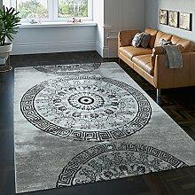 Teppich Klassisch Gemustert Kreis Ornamente in Grau Schwarz Meliert, Grösse:80x150 cm