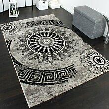 Teppich Klassisch Gemustert Kreis Ornamente in Grau Schwarz Meliert, Grösse:160x230 cm