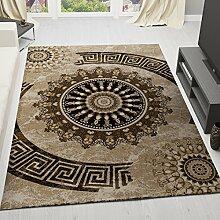 Teppich Klassisch Gemustert Kreis, sehr dicht gewebt, Meliert Ornamente Muster in Braun Beige Schwarz - Top Qualität, VIMODA; Maße: 120x170cm