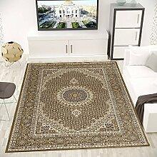 Teppich Klassisch Gemustert Kreis, sehr dicht gewebt, Orient Muster - Top Qualität, BRAUN, VIMODA; Maße: 160x230 cm