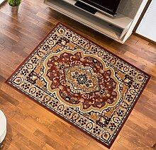 Teppich Klassisch Gemustert Orient Ornamente Oval Muster in Braun + LÄUFER (70 x 250 cm)
