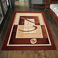 Teppich Klassisch / Modern Kurzflor Muster RETRO Meliert in Braun / TOP Preis - ÖKO TEX (80 x 150 cm)