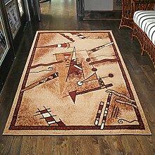 Teppich Klassisch / Modern Kurzflor RETRO Muster Meliert in Braun / TOP Preis - ÖKO TEX (70 x 200 cm)
