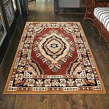 Teppich Klassisch Orientalisch Beige Braun Gemustert Kurzflor Blumen Günstig (250x350 cm)