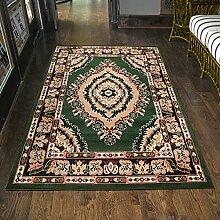 Teppich Klassisch Orientalisch Grün Gemustert Kurzflor Blumen Günstig (70x130 cm)