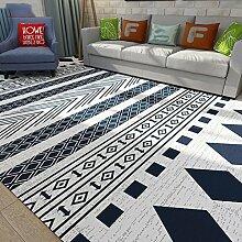 Teppich Klassisch Rechteckig Cozy Shag Collection Massiv Teppich Contemporary Living & Schlafzimmer Weiche Shaggy Teppich Teppich Schwarz-Weiß-Blau und Weiß ( Color : B , Size : 40*60cm )
