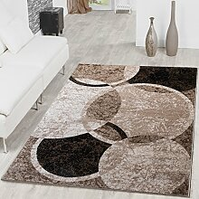 Teppich Kreis Design Modern Wohnzimmerteppich Braun Beige Schwarz Meliert, Größe:120x170 cm