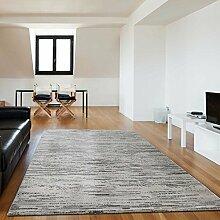 Teppich Kurzflor für Wohnzimmer grafisch liniert in Beige unifarbe in verschiedenen Grö0en schadstofffrei Trend (200 x 290 cm)
