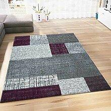 Teppich Kurzflor in Lila Grau Weiß Wohnzimmer