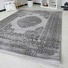 Teppich Kurzflor mit Medaillon Muster Grau Modern Designer mit Hoch-Tief Struktur sehr hochwertige und dichte Webung pflegeleicht mit Öko-Tex (120 x 170 cm)