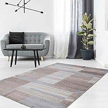 Teppich Kurzflor mit Patchwork-Stil in Pastellblau