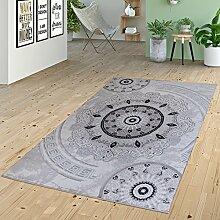 Teppich Kurzflor Ornamente Kreise Versace Design Muster Grau Anthrazit Schwarz, Größe:200x280 cm