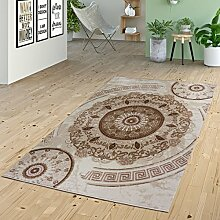 Teppich Kurzflor Ornamente Kreise Versace Design Muster in Beige Creme Braun, Größe:120x160 cm