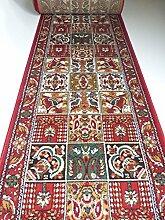 Teppich Läufer auf Maß Rot Felder 645 lfm. 19,90 Euro Breite 100 x 160 cm
