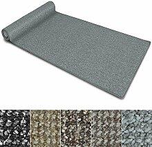 Teppich Läufer Carlton | Flachgewebe dezent gemustert | Teppichläufer in vielen Größen | als Küchenläufer, Flurläufer | mit Stufenmatten kombinierbar (Hellgrau - 66x350 cm)