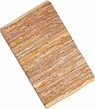 Teppich Läufer Matte Unterlage Vorleger Fußabtreter, breite Auswahl an modernen Fleckerl- und Baumwollteppichen (70x130cm / Leder beige)