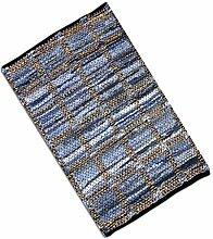 Teppich Läufer Matte Unterlage Vorleger Fußabtreter, breite Auswahl an modernen Fleckerl- und Baumwollteppichen (120x180cm / Jeans Square)