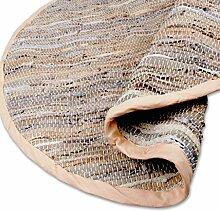 Teppich Läufer Matte Unterlage Vorleger Fußabtreter, breite Auswahl an modernen Fleckerl- und Baumwollteppichen (Rund 150cm / Leder beige)