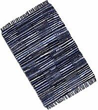 Teppich Läufer Matte Unterlage Vorleger Fußabtreter, breite Auswahl an modernen Fleckerl- und Baumwollteppichen (50x80cm / Jeans Check)