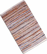 Teppich Läufer Matte Unterlage Vorleger Fußabtreter, breite Auswahl an modernen Fleckerl- und Baumwollteppichen (90x150cm / Leder braun)