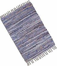 Teppich Läufer Matte Unterlage Vorleger Fußabtreter, breite Auswahl an modernen Fleckerl- und Baumwollteppichen (90x150cm / Jeans Bone)