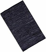 Teppich Läufer Matte Unterlage Vorleger Fußabtreter, breite Auswahl an modernen Fleckerl- und Baumwollteppichen (120x180cm / Leder schwarz)