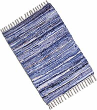 Teppich Läufer Matte Unterlage Vorleger Fußabtreter, breite Auswahl an modernen Fleckerl- und Baumwollteppichen (120x180cm / Jeans Leather)