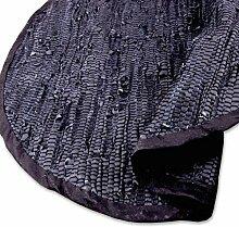 Teppich Läufer Matte Unterlage Vorleger Fußabtreter, breite Auswahl an modernen Fleckerl- und Baumwollteppichen (Rund 90cm / Leder schwarz)