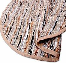 Teppich Läufer Matte Unterlage Vorleger Fußabtreter, breite Auswahl an modernen Fleckerl- und Baumwollteppichen (Rund 150cm / Leder braun)