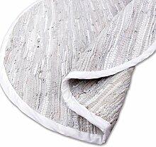 Teppich Läufer Matte Unterlage Vorleger Fußabtreter, breite Auswahl an modernen Fleckerl- und Baumwollteppichen (Rund 90cm / Leder weiß)