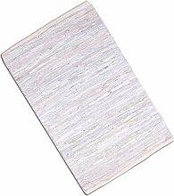 Teppich Läufer Matte Unterlage Vorleger Fußabtreter, breite Auswahl an modernen Fleckerl- und Baumwollteppichen (140x200cm / Leder weiß)