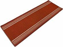 Teppich Läufer Promenade | in vielen Größen, Meterware | stilvoller Teppichläufer aus pflegeleichtem Flachgewebe | kombinierbar mit Stufenmatten | rot (80x150cm)