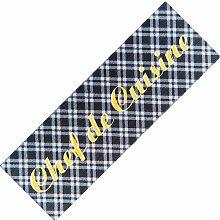 Teppich-Läufer Waschbar rutschfest | Design Chef de Cuisine bunt 50x150 | Sauberlaufzone für Küche Flur | Schmutzfangmatte als Dekoartikel Küchendeko Küchenteppich Geschenk für Hobbykoch