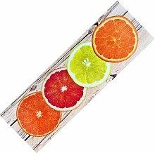 Teppich-Läufer Waschbar rutschfest | Design Citrus Modern Sommer 50x150 | Sauberlaufzone für Küche Flur | Schmutzfangmatte als Dekoartikel Küchendeko Küchenteppich Geschenk für Hobbykoch