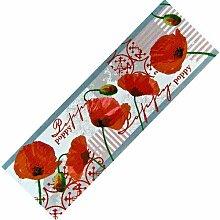 Teppich-Läufer Waschbar rutschfest | Mohn Blumen Modern 50x150 | Sauberlaufzone für Küche Flur | Schmutzfangmatte als Dekoartikel Küchendeko Küchenteppich Geschenk für Hobbykoch