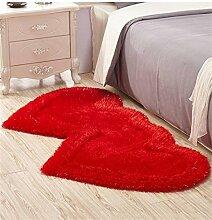 Teppich Lovely Double Heart Teppich Wohnzimmer Couchtisch Schlafzimmer Teppich Nachttisch Teppichboden Matte Lebensmittel ( Farbe : A , größe : 80*161CM )