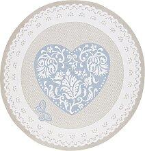 Teppich Luca rund, blau (Ø 90 cm)