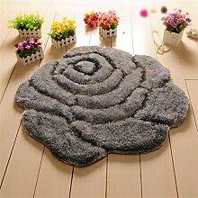 Teppich Matte runde rutschfeste Fuß Teppich Teppich Wohnzimmer Schlafzimmer saugfähige Fuß Teppich Lebensmittel ( Farbe : Grau , größe : 90*90cm )