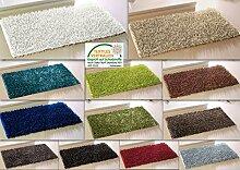 Teppich Metallic Shaggy alle Räume Badteppich Badematte Duschvorleger Badvorleger (ca. 60x100 cm, Silber)