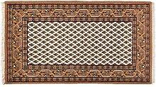 Teppich Mir Indien ca. 160 x 90 cm · Braun · handgeknüpft · Schurwolle · Klassisch · hochwertiger Teppich · 15205